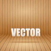 Old curved wooden background Grunge old interior. Vector