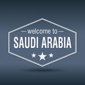 Welcome To Saudi Arabia Hexagonal White Vintage Label