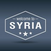 Welcome To Syria Hexagonal White Vintage Label