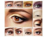 Set Of Eyeshadow. Mascara. Mix Of Women's Eyes