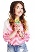 Friendly Woman Holding Ice Cream And Smiling