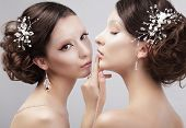 Two Women Fashion Models With Trendy Make-up