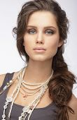 Sophisticated Woman With Ornamentation - Pearly Necklace