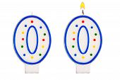 Birthday Candles Number Nil Isolated On White