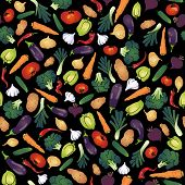 vegetables seamless  pattern. black background