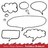 Scribble speech and thought bubbles hand drawn in pencil.