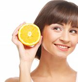 Young cheerful woman with oranges