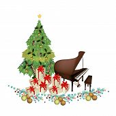 stock photo of grand piano  - Christmas Tree of Green Maple Leaves with Pile of Gift Boxes and Grand Piano Sign for Christmas Celebration - JPG