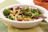 stock photo of cruciferous  - Fresh healthy kale and cabbage salad with dried cranberries and pumpkin seeds - JPG