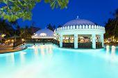 Pool Landscape At Night