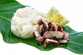 Thailand Food : Thai Style Bbq Pork And Sticky Rice On White Background