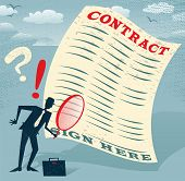 stock photo of contract  - Abstract Businessman inspects the contract - JPG