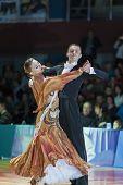 Minsk-belarus, October 18, 2014: Unidentified Dance Couple Performs Adult Standard European Program