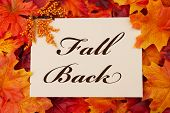 stock photo of red back  - A Fall Back card beige with words - JPG