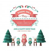 Digitally generated Merry christmas vector with cute illustrations
