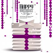 Birthday card with gift box in the style of flat folded paper.