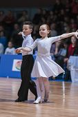 Minsk-belarus, October 18, 2014: Unidentified Dance Couple Performs Juvenile Latin-american Program