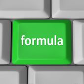 Formula word on computer keyboard key to illustrate a solution to a problem in a spreadsheet program or other application software