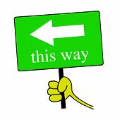 This Way Signboard With Hand Color Vector Illustration