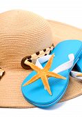 Beach Hat, Flip Flops And Starfish