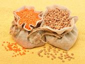Lentils In The Sack On The Tablecloth
