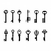 Vector keys silhouette. Antique Keys 2