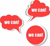 We Can. Set Of Stickers, Labels, Tags. Template For Infographics