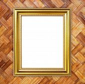 Golden Frame On Bamboo Texture Background