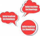 Information Technology. Set Of Stickers, Labels, Tags. Business Banners, Infographics Template