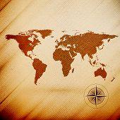 World map, wooden design texture, vector illustration