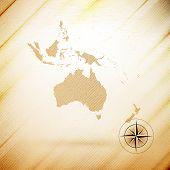 Australia map, wooden design background, vector illustration
