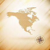 North america map, wooden design background, vector illustration