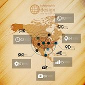 North america map, infographic design illustration, wooden background vector