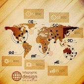 World map, infographic design illustration, wooden background vector