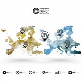 Europe map template, triangle design, infographics vector illustration