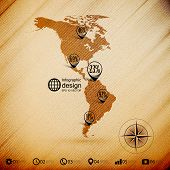 North and South America map, wooden design background, infographics vector illustration