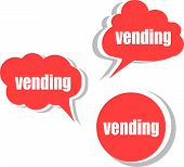 Vending Word On Modern Banner Design Template. Set Of Stickers, Labels, Tags, Clouds