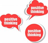 Positive Thinking. Set Of Stickers, Labels, Tags. Template For Infographics