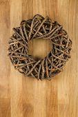 Christmas Door Wreath Brown On Sapele Wood Background