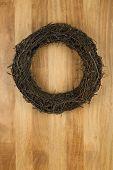 Christmas Door Wreath Dark Brown On Sapele Wood Background
