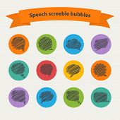 Vector Speech black doodle  scrabble bubbles