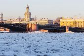 Vasilyevsky Island And Palace Bridge Early Winter Morning In St. Petersburg