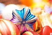 Christmas decorations in festive holiday concept