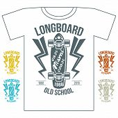 Longboard Emblem Retro Print On White Background
