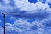 electric wire with the cloud sky