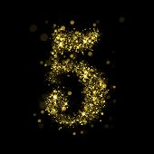 Number five of gold glittering stars (glittering font concept).Vector christmas illustration of a shining stars numbers.