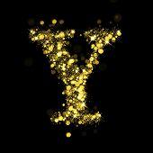 Sparkling Letter Y on black background. Alphabet of golden glittering stars (glittering font concept). Christmas holiday illustration of bokeh shining stars character..