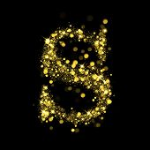 Sparkling Letter S on black background. Alphabet of golden glittering stars (glittering font concept). Christmas holiday illustration of bokeh shining stars character..