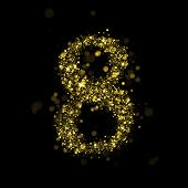Number eight gold glittering stars (glittering font concept).