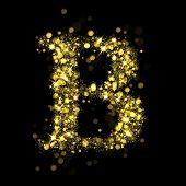 Sparkling Letter B on black background. Alphabet of golden glittering stars (glittering font concept). Christmas holiday illustration of bokeh shining stars character..